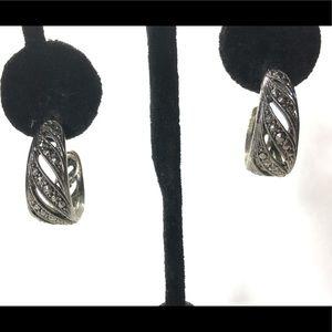 "Jewelry - Earrings hoop silver tone slotted 1"""